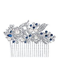 Ever Faith Austrian Crystal Bridal Hair Comb Flower Art Deco Cream Simulated Pearl