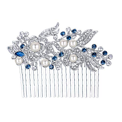 EVER FAITH Austrian Crystal Cream Simulated Pearl Flower Leaf Vine Hair Comb Blue Silver-Tone