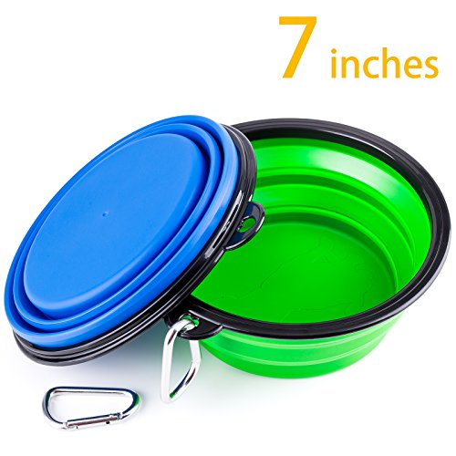 IDEGG Collapsible Silicone Pet Bowl,Set of 2,Large Size, Food Grade Silicone BPA Free,Foldable Expandable Cup Dish for Pet Raised Dog/Cat Food Water Feeding Portable Travel Bowl(Set of 2,Blue+Green)