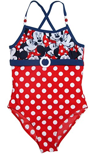 Minnie Mouse Badeanzug Kollektion 2016 Badesachen 92 98 104 110 116 122 128 Schwimmbekleidung Sommer Weiß-Rot (110 - 116, Weiß-Rot)