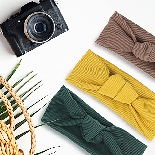 3 otters Headbands for Women 8 Pack Knitted Boho Stretchy Hair Bands, Vintage Knot Head Wrap Hair Accessories for Yoga Workout, 8 Colors
