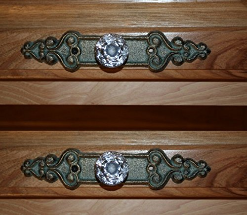 Old Fashion Vintage-style Elegant Crystal Drawer Pulls Bronze-look Cast Iron Backplate, 7 inch long, HW-25, Set of 14 ()