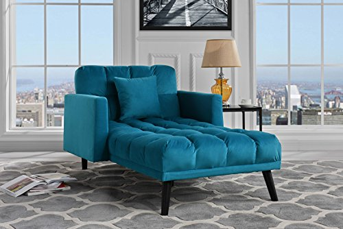 (Sofamania Modern Velvet Fabric Recliner Sleeper Chaise Lounge - Futon Sleeper Single Seater with Nailhead Trim (Blue))