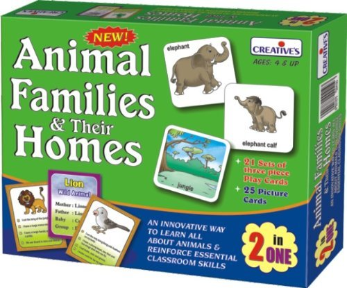 Pre-school Animal Families & Their Homes 2 In One - Animals Family