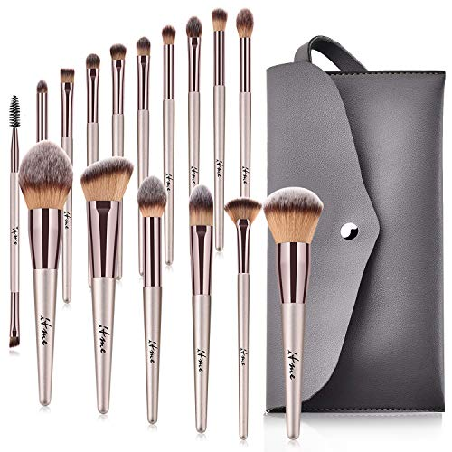 Makeup Brushes, ITME [Upgrade Version] Premium Professional Makeup Synthetic Brush Makeup Brushes Set With Purse For Foundation Blending Blush Powder Blush Concealers Eye Shadows Brushes Kit (Pack of 16,Rose Gold Champagne With Purse)