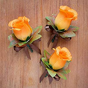 4 pcs Orange Silk Rose Boutonniere with Fall Maple Leaves - Autumn Wedding Flowers 2