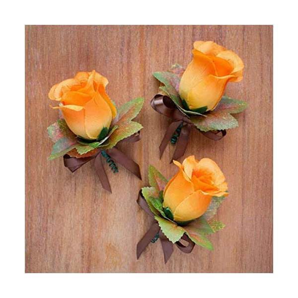 4-pcs-Orange-Silk-Rose-Boutonniere-with-Fall-Maple-Leaves-Autumn-Wedding-Flowers