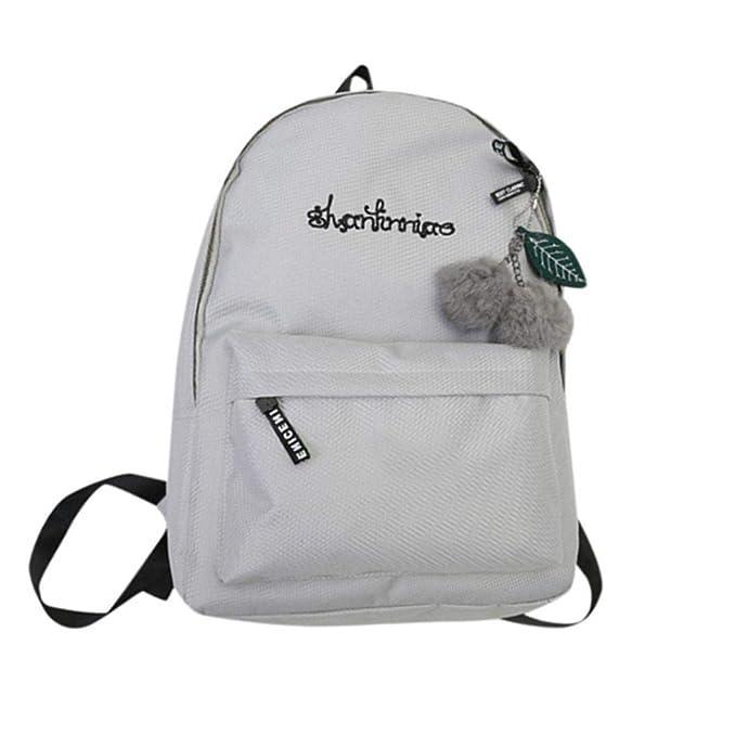 073ce3d40106a OdeJoy Unisex Schulter Solid Bookbags Schule Reise Rucksack Brief Drucken  Schüler Schulranzen Streifen Leinentasche Mode Lässig