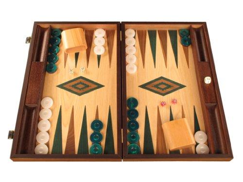 Oak Wood Backgammon Set - Board Game - Large, Brown / Green