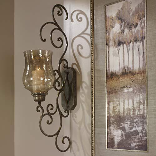 My Swanky Home Classic Iron Scroll Wall Candle Holder Sconce Metal Swirl Bronze Iron Hurricane