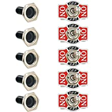 Etopars 5 X Heavy Duty 20A 125V 15A 250V SPDT 3 Terminal Pin (ON)/OFF/(ON) Momentary Rocker Toggle Switch Flick Metal Waterproof Cap Knob