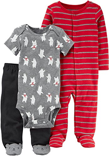 Carter's Baby Boys' 3 Piece Polar Bear Bodysuit, Pants and Coverall Set Red 9 Months