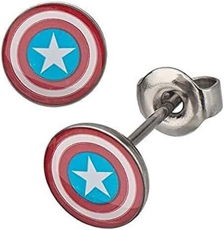 Marvel Women's Captain America Stud Earrings, 316L Surgical Stainless Steel, ...