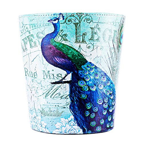 Peacock Basket - HMANE 10L/2.64 Gallon Trash Can Leather Waterproof Garbage Can Paper Basket Wastebasket Dustbin Bedroom Living Room Office - (Peacock Pattern)