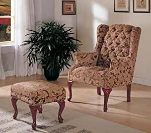 Wing accent chair with ottoman queen anne - Queen anne style living room furniture ...