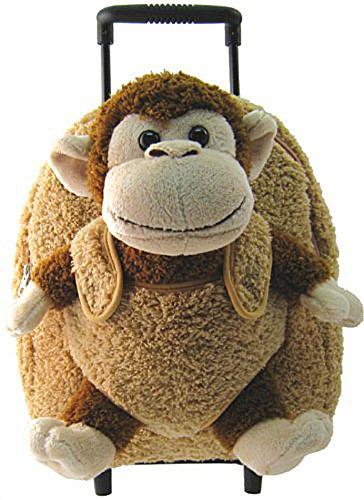 Plush Monkey Chimp Brown Furry Trolly Rolling Backpack w/ Wheels