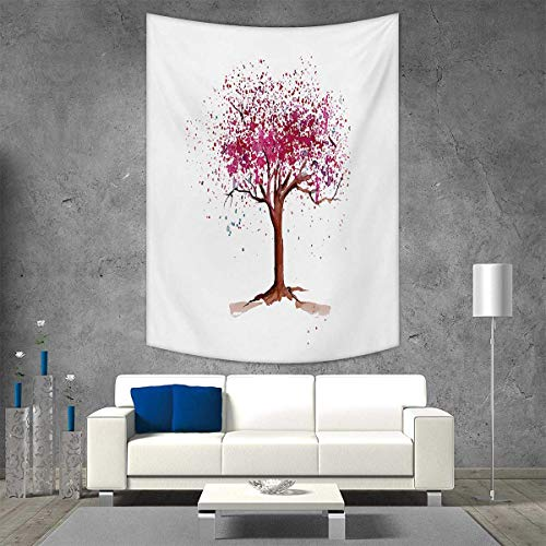 smallbeefly Floral Wall Hanging Tapestries Japanese Cherry Blossom Buds Sakura Tree in Watercolor Beauty Essence Artwork Large tablecloths 60W x 80L INCH Magenta Redwood - Nancy Floral Wall Hanging