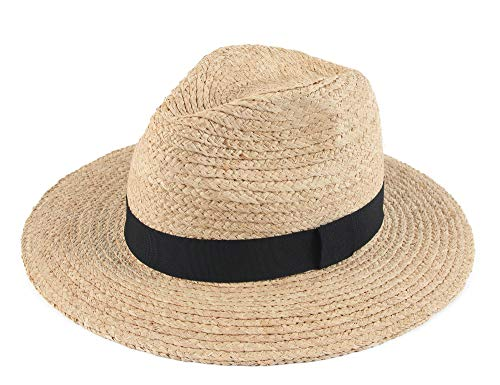 Melesh Summer Beach Sun Wide Brim Panama Raffia Straw Fedora Hat (Natural) ()