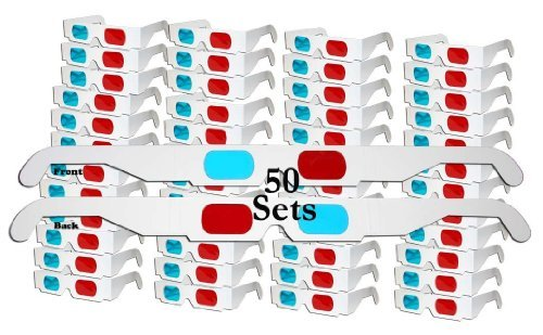 50 Pairs Glasses Anaglyph Cardboard product image