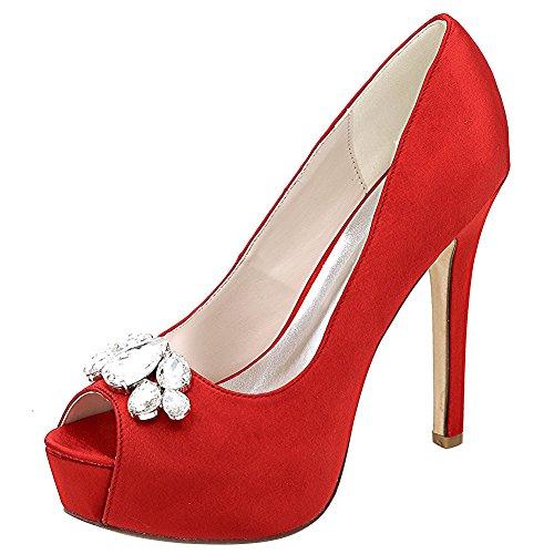Loslandifen Womens Peep Toe Stiletto Sexy Tacchi Alti Pompe Da Sposa Scarpe Da Sposa (3028-01bchouduan37, Raso Rosso)