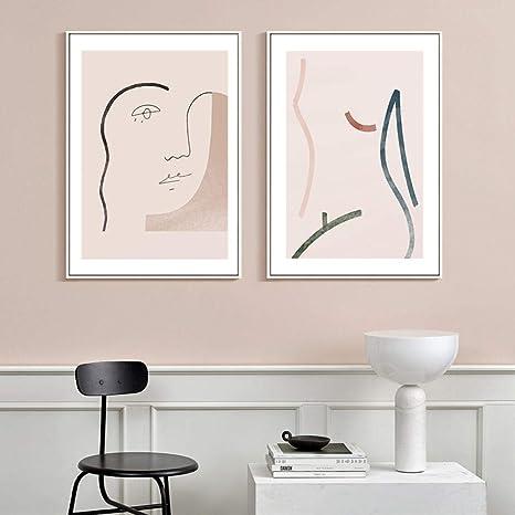 Abstract Drawing Canvas Wall Art Conceptual Artwork Home Living Room Decor Prints Minimalist Woman