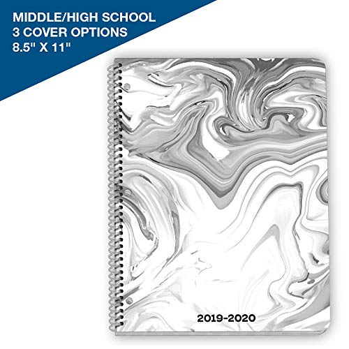 Dated Middle or High School Student Planner 2019-2020 Academic Year, 8.5x11 inch Matrix Style Datebook with Telluride Marble Cover