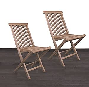 Divero silla plegable silla de jardín silla silla de madera de teca para terraza balcón jardín de invierno maciza plegable, marrón