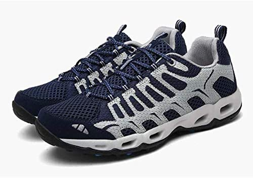 アウトドアハイキングシューズカジュアルハイキング上流の靴、ゴム汗吸収性メンズ軽量速乾性排水メッシュシューズ付き通気性カップル ポータブル (色 : Navy Blue, Size : US10.5)