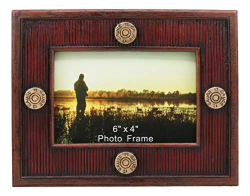 Ebros Red Shotgun Bullet Shells Picture Frame with Easel Back Shotgun Shell Lined Photo Frame 4