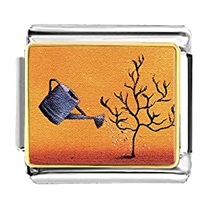 Chicforest Gold Plated Water A Tree Bracelet Link Photo Italian Charm