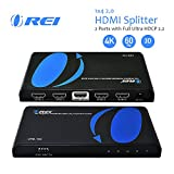 Orei 1x4 2.0 HDMI Splitter 2 Ports with Full Ultra HDCP 2.2, 4K at 60Hz & 3D Supports EDID Control - UHD-104