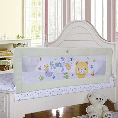 Baby Bed Rail Children Extra Long Bed Guard Toddler Safety Fold Down Bedrail Potable Stop Falling White Color (58