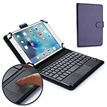 7 - 8'' inch tablet keyboard case, COOPER TOUCHPAD EXECUTIVE 2-in-1 Wireless Bluetooth Keyboard Mouse Leather Travel Windows Android Carrying Cases Cover Holder Folio Portfolio + Stand (Blue)
