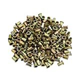 uxcell 200 Pcs 1/4-20 Bronze Tone Zinc Plated Stainless Steel Thread Rivet Nut Insert Nutserts