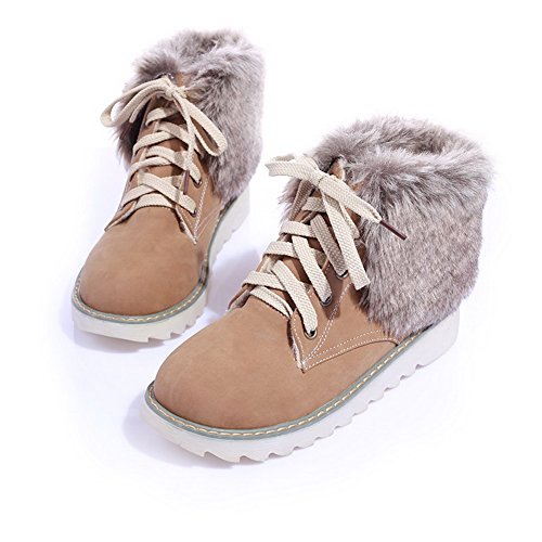 Boots Low Round Closed Solid apricot Women's Lace PU Up Heels AmoonyFashion Toe qvwF1XEXx