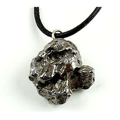 Dancing Bear Authentic Meteorite Pendant Necklace, Treasure Chest Box, Real Space Rock, Educational Card & Certificate of Authenticity. Adjustable Cord, Campo Del Cielo, Argentina: Home & Kitchen