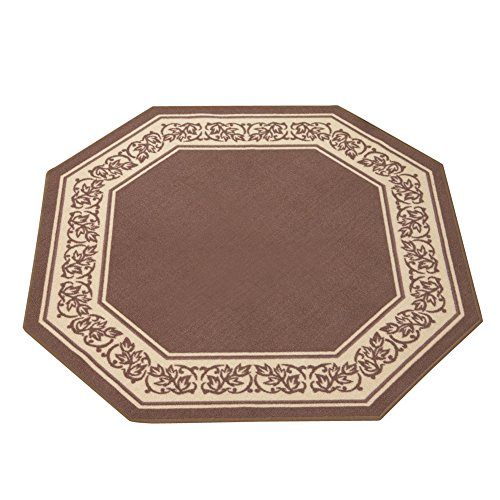 Collections Etc Floral Border Octagon Accent Rug with Skid-Resistant Backing to Protect Floors in High Traffic Areas 54