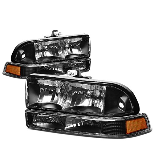 (For Chevy S10/Blazer GMT 325/330 4Pcs Black Housing Amber Corner Headlight)