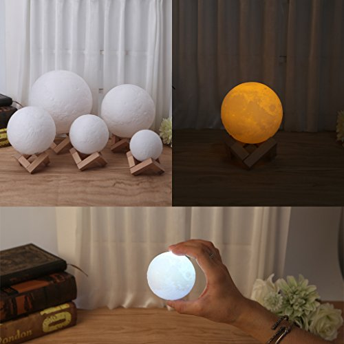 SYlive 3D Magical LED Luna Night Light, Moon Lamp Desk USB Charging, Touch Control Home Decor - Double Color Change Yellow & White (20cm)