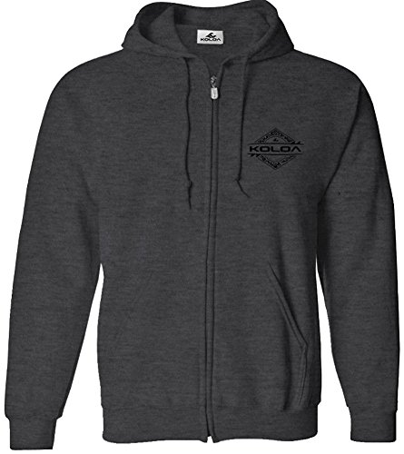 Koloa Surf(tm) Diamond Thruster Logo Full Zipper Hoodie-Hooded Sweatshirt-DarkHeath/b-M