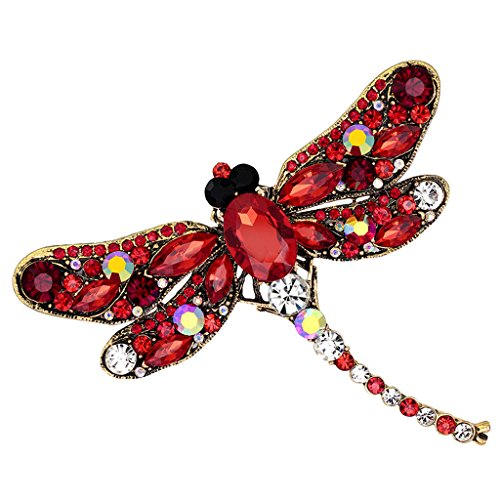 Dragon Sunglasses Pin (Yumian Unique Rhinestone Dragonfly Shaped Brooches Scarf Pin Jewelry)
