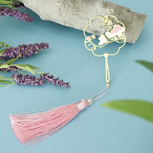 BROSCO Classical Metal Bead Bookmark with Handmade Silky Tassel -Mangnolia Carved