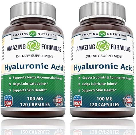 Amazing Formulas Hyaluronic Acid 100 mg Capsules (Non-GMO) - Support Healthy Connective Tissue and Joints - Promote Youthful Healthy Skin (120 Count (Pack of 2))