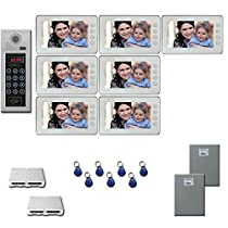 Office Building Video Entry Seven 7 inch color monitors door panel