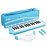 Mugig 32 Keys Melodica, C-Key, with Carrying Case, Extra Mouthpiece and Extension Hose, Kid Instrument for Early Childhood Development (Blue/White)