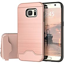 Samsung Galaxy S7 Case, Raydem Galaxy S7 Shockproof Case with Card Slot Holderand Built-In Kickstand,Wire Drawing Cover Design (Rose Gold, S7)