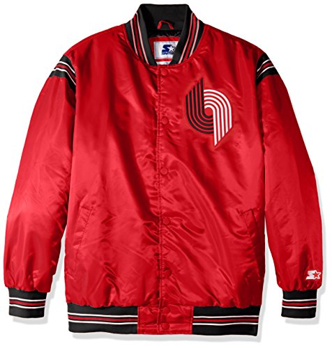 (STARTER NBA Portland Trail Blazers Men's The Enforcer Retro Satin Jacket, X-Large, Red)