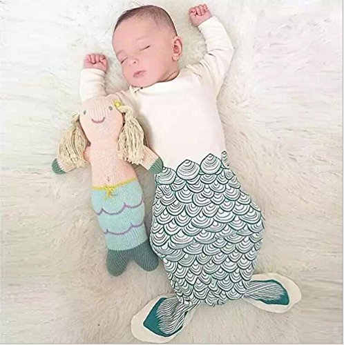 NinkyNonk Cute Mermaid Newborn Sleeping Bag Warm Cotton Baby Summer Sleep Bag Wearable Blanket for 0-12 Months