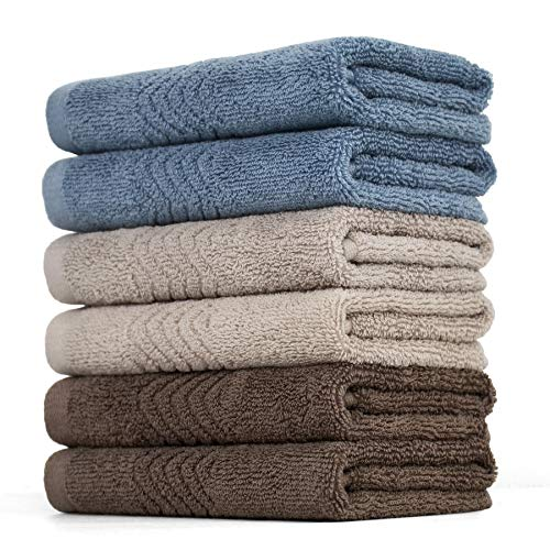 Cleanbear Cotton Washcloths Bath Wash Cloth Set 13 x 13 Inches, 6-Pack Face Cloths with 3 Colors