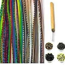 "New 21 Pc Kit "" Natural Forest Mix 7""-11"" Feather Hair Extensions"" 10 Long Genuine Single Feathers + 10 Micro Beads & 1 Hook Tool (Colors Will Be Chosen Randomly)"